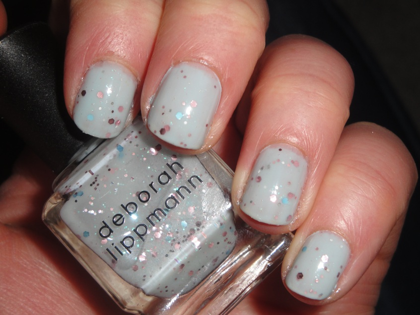 Deborah Lippmann Glitter in the Air Pink Golden Globe Performance Sheer Grey Gray Blue Pink Glitter Sophisticated Nail Polish House of Fraser Layered Barry M Blue Moon