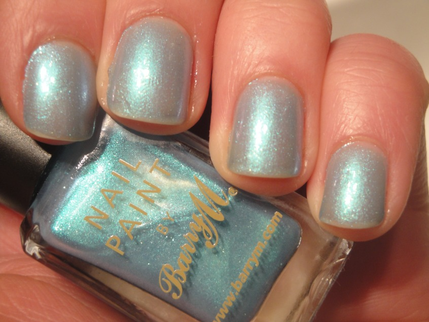 Barry M Aqua Blue pale blue shimmer green turquoise sheer purple duochrome UK nail polish