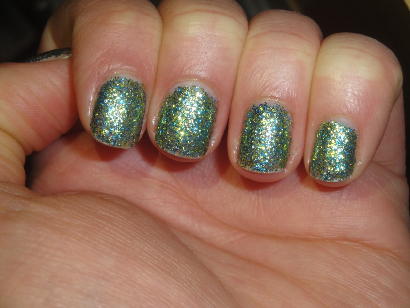 W7 Green Glitter nail polish Blue gold square glitter dense 2 coats sparkle