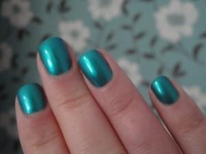 Barry M Teal Nail Paint polish aqua blue Sea green shimmer duochrome liquid metal peacock bright toenail gems jewels spring summer release 2012