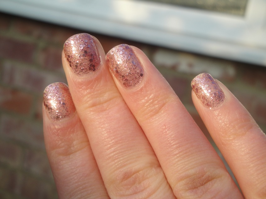 Revlon Sparkling Anniversary Collection Spring Summer 2012 Deborah Lippmann Some Enchanted Evening Essie A Cut Above Dupe Pink Glitter topcoat hexagons holographic layered