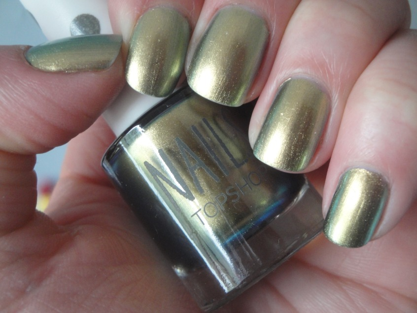 Topshop Hidden Treasure Nail Duochrome Chanel Peridot Dupe Duplicate identical green blue hazel chrome nail polish gold petrol autumn winter release copy comparison swamp green murky