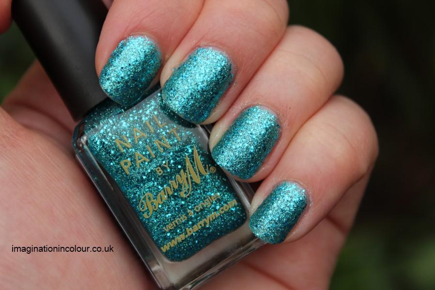 Barry M Aqua Glitter new festival turquoise blue microglitter hexagonal mermaid fish tail topcoat (2)