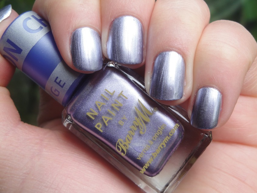 Barry M Chameleon Lilac Silver Purple Foil chrome romantique china glaze colour change top coat clear nail polish add nail art lillibet (3)