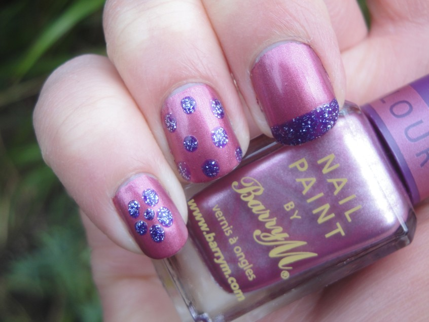 Barry M Chameleon Pink salmon rose shimmer foil chrome china glaze romantique colour change clear topcoat nail polish purple magic nail art