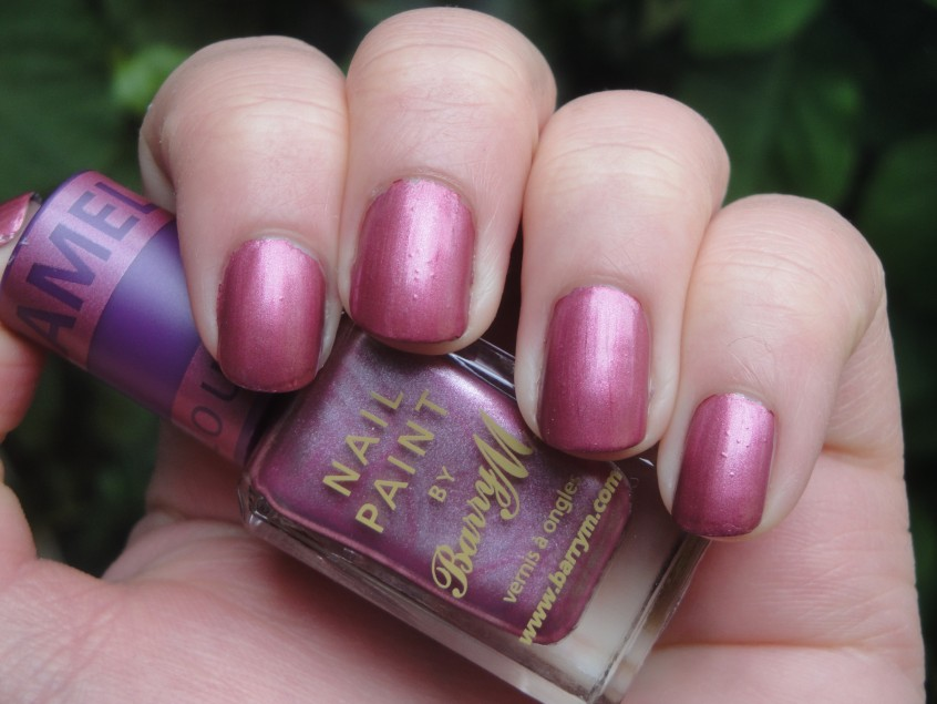 Barry M Chameleon Pink salmon rose shimmer foil chrome china glaze romantique colour change clear topcoat nail polish purple magic nail art