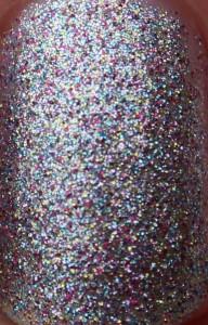Barry M Silver Multi Glitter multicolored multicoloured pink blue yellow silver microglitter dense foil nail paint close up