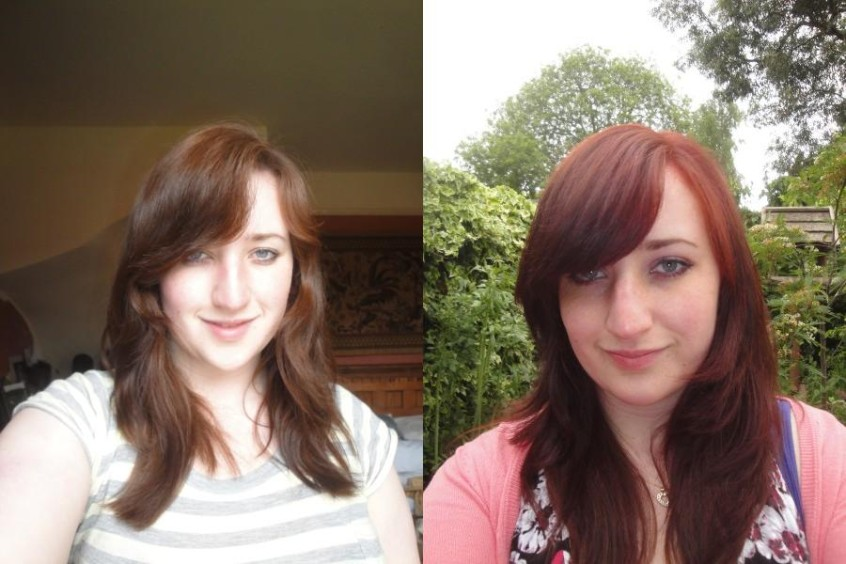 Hair Dye before and after Schwarzkopf red passion permanent bright red dye from dark brown auburn hair fading