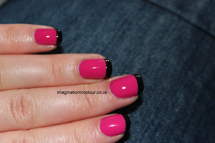 Black And Pink French Tip Nails Pink Black french tips