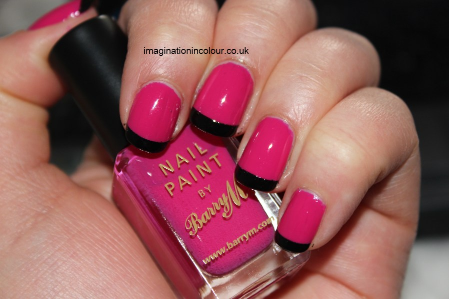 Barry M Shocking Pink Black french tips manicure Nailene perfect french tip guides neon jelly bold blocking nail polish