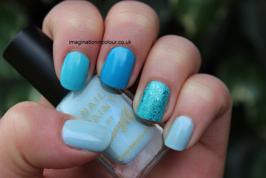 Mix and Match turquoise blue glitter nail polish manicure Barry M Blue Moon Pure Turquoise Aqua Glitter Cyan Blue gradient ombre shades nails pick n mix