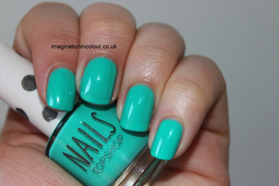 Topshop Green Room 201 bright green blue aquamarine aqua turquoise neon creme jelly crelly nail polish mint green greenport essie turquoise caicos dupe tiffany and co