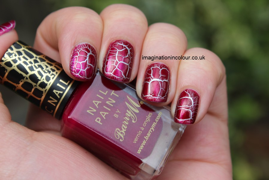 Barry M Burgundy Croc Effects nail paint polish burgandy red vampy crocodile print giraffe turtle over silver raspberry jelly kelier crackle shatter swatch UK nail blog review lightning nail art
