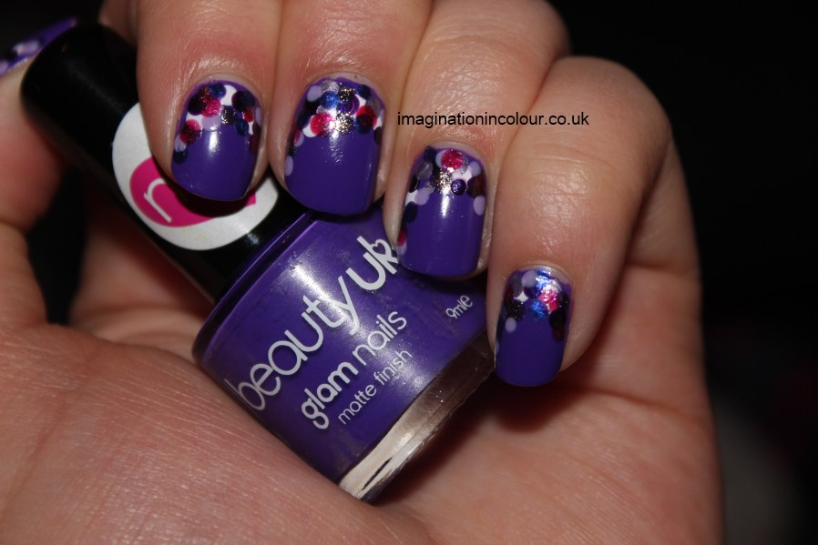 Purple dotted nail art party balloons beautyuk jelly bean jellybean ciate showgirl barry m lilac foil berry ice cream retro vivid purple blue barbara daly color club alter ego nail polish uk