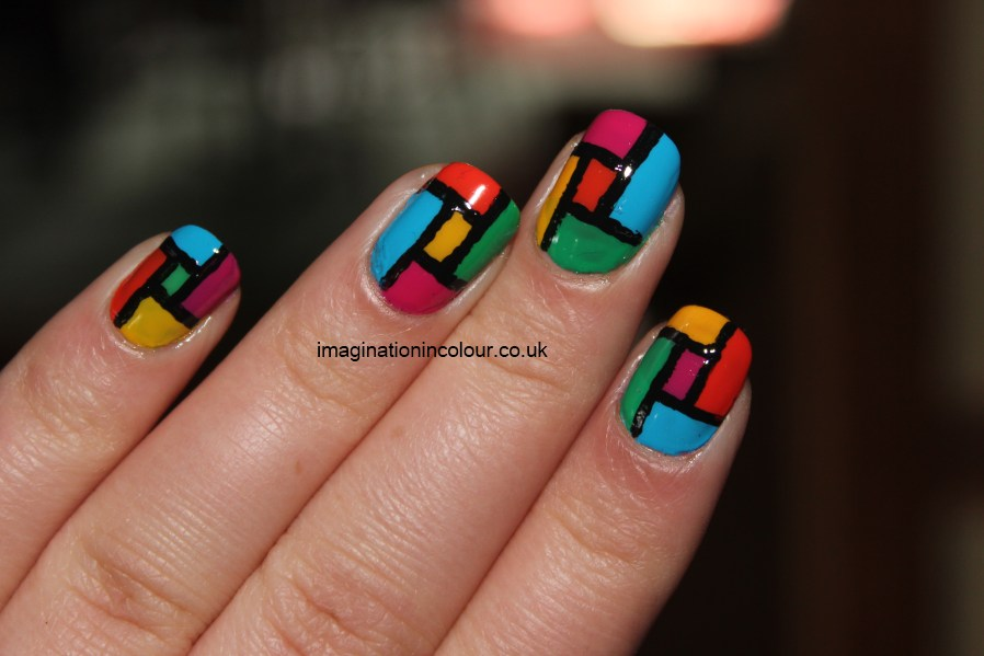 Abstract nail art modern block colour blocking artistic nail polish ...
