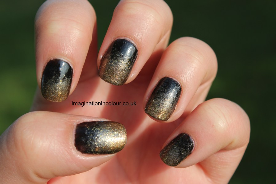 Antique Nail Art gradient nails black and gold silver faded ombre polish glitter barry m boots 17 3 nail challenge uk nail polish blog sponging manicure