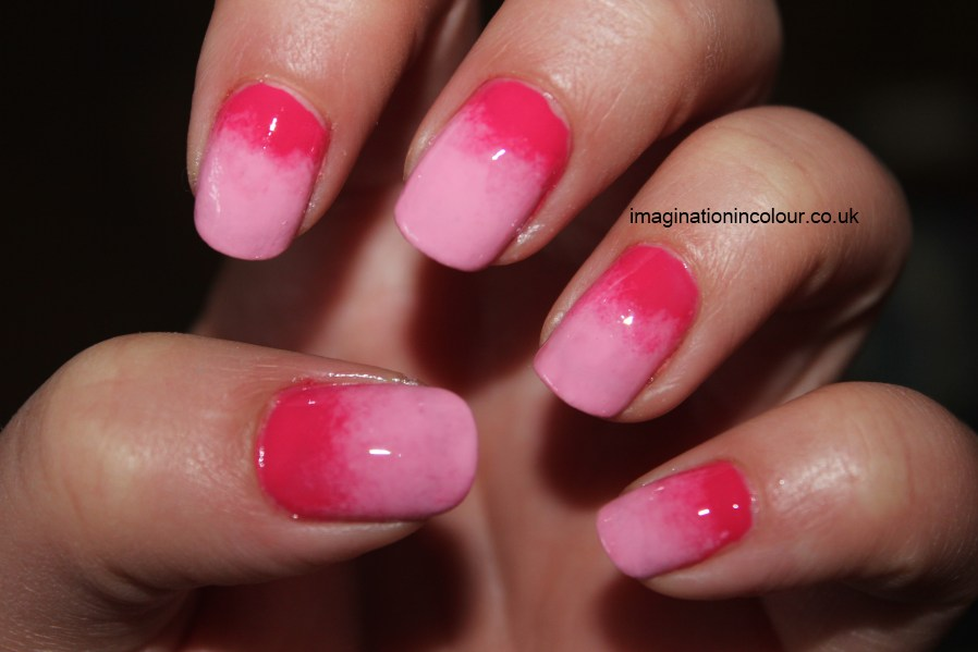 Gradient Nail Art Pink ombre two-tone candyfloss gosh barry m faded girly barbie manicure 30 day nail challenge UK blog