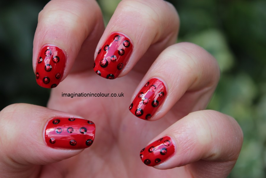 Red Dotted Manicure polka dot glitter barry m boots 17 retro ladybird red and black dots UK nail blog art