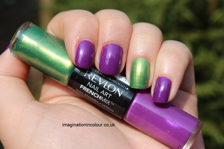 Revlon french Mix All The Rage duo nail polish purple pink shimmer green parrot golden mix and match french manicure tips alternative summer colour blocking