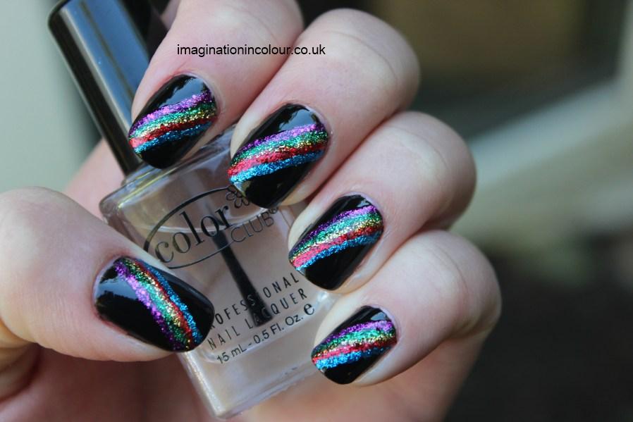 Striped Nail Art Glitter Barry