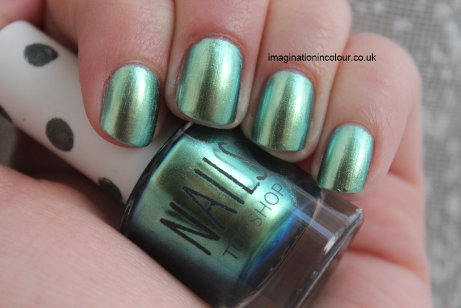 Topshop Eclipse duochrome green blue gold sea ocean dupe China Glaze Unpredictable Nails Inc Swiss Cottage eye candy london green with envy foil finish minx wrap metallic nail polish UK blog review