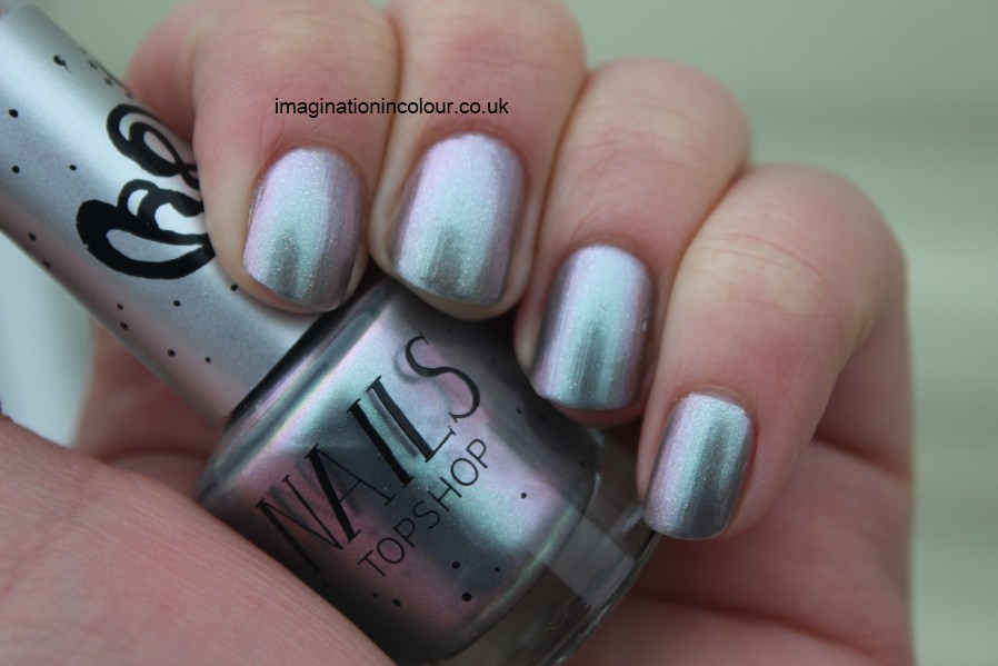 Topshop Hypnotic nail polish silver green pink duochrome microglitter dream barry m silvery lilac opi not like the movies dupe sisters of the new moon collection UK blog review