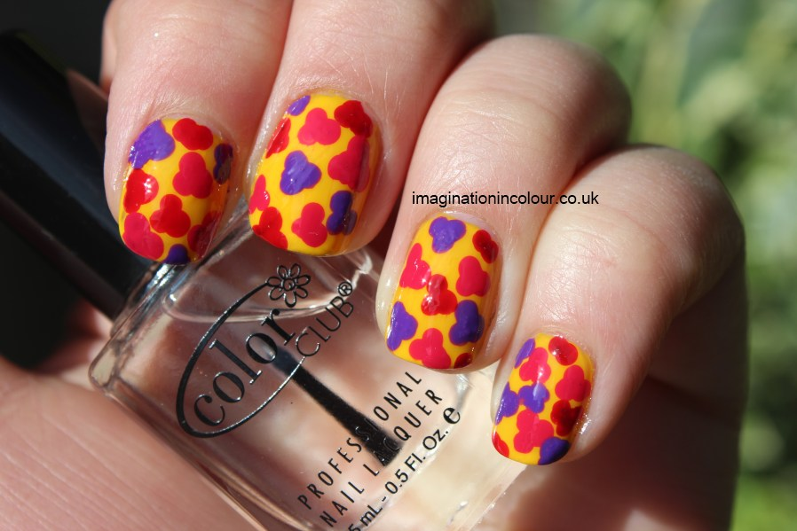 Yellow flower nail art barry m revlon beautyuk marks and spencer bright summer dots blobs pattern splatter manicure polish UK blog