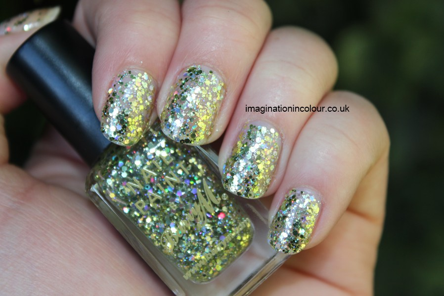 Barry M Yellow Topaz Glitter holographic gold topcoat hexagonal christmas nail paint polish uk nail blog review