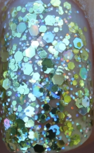 Barry M Yellow Topaz Glitter holographic gold topcoat hexagonal christmas nail paint polish uk nail blog review close up macro