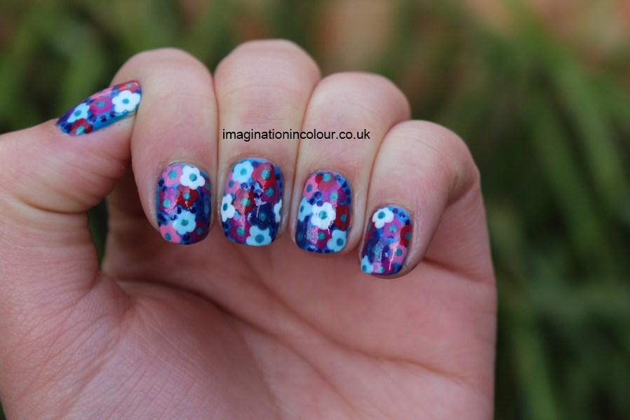 Flowers nail art floral blue pink purple white dotted inspired dress retro summery impress nails design spring summer 30 days untrieds challenge Barry M Barielle Sally Hansen Marks and Spencer Revlon UK blog (2)