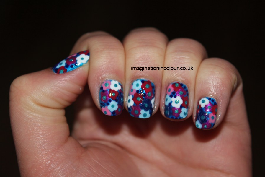 Flowers nail art floral blue pink purple white dotted inspired dress