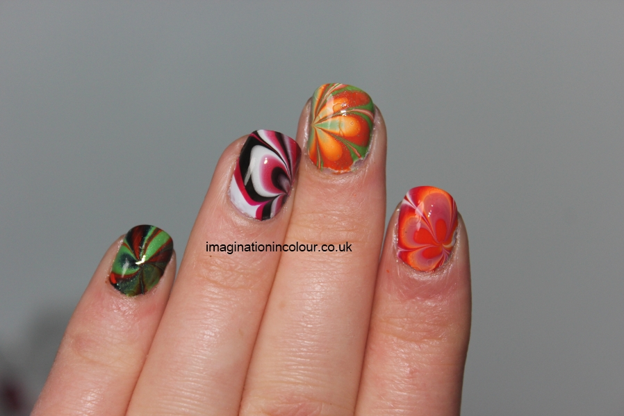 Collection kit water marbling varnish set designs swirl flower flowers ...