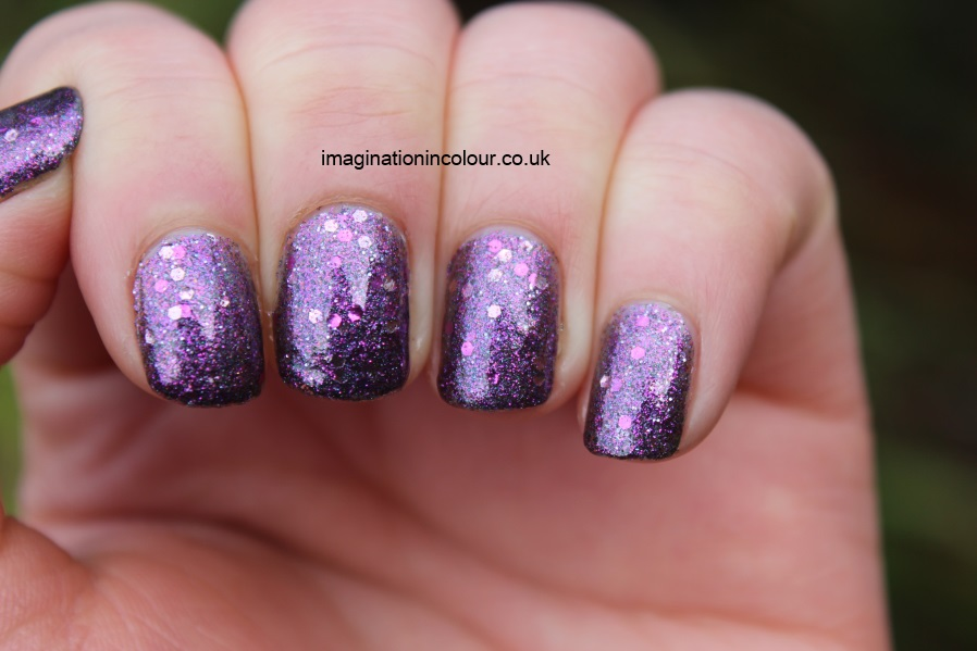 Butter London Shambolic Purple Glitter pink fuchsia silver green microglitter holiday 2012 collection christmas lilac nail polish lacquer 3 free cruelty free UK nail blog review swatch swatches (2)