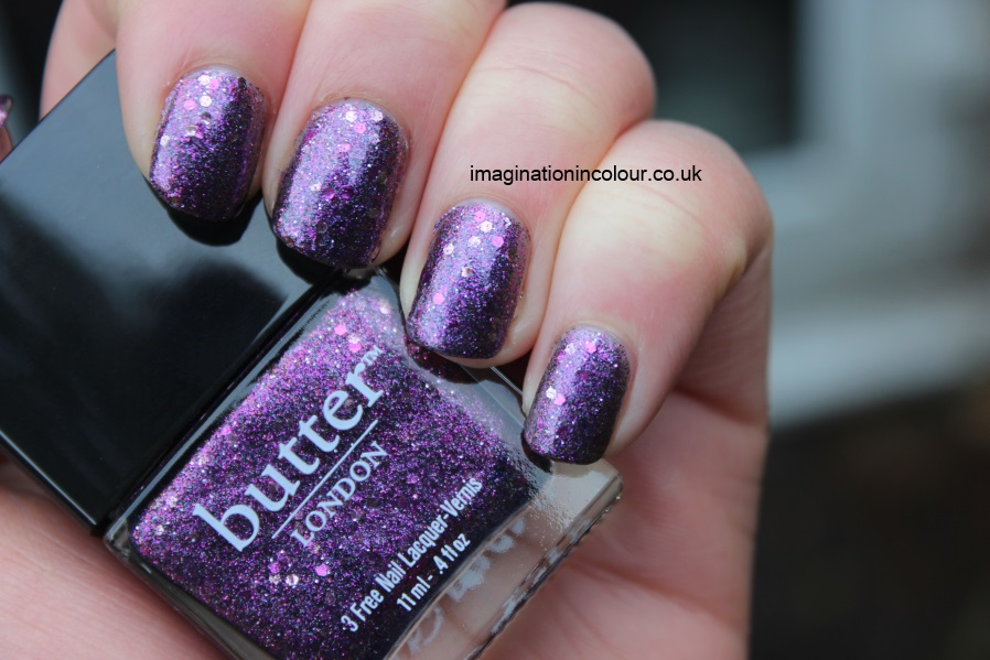 Butter London Shambolic Purple Glitter pink fuchsia silver green microglitter holiday 2012 collection christmas lilac nail polish lacquer 3 free cruelty free UK nail blog review swatch swatches (3)