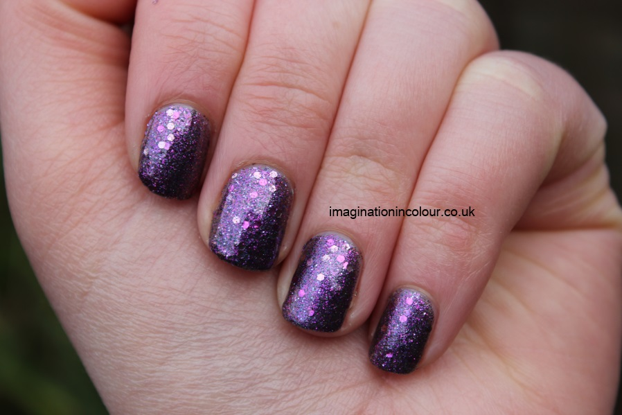 Butter London Shambolic Purple Glitter pink fuchsia silver green microglitter holiday 2012 collection christmas lilac nail polish lacquer 3 free cruelty free UK nail blog review swatch swatches (4)