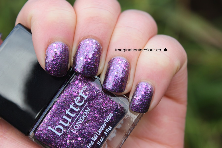 Butter London Shambolic Purple Glitter pink fuchsia silver green microglitter holiday 2012 collection christmas lilac nail polish lacquer 3 free cruelty free UK nail blog review swatch swatches (5)