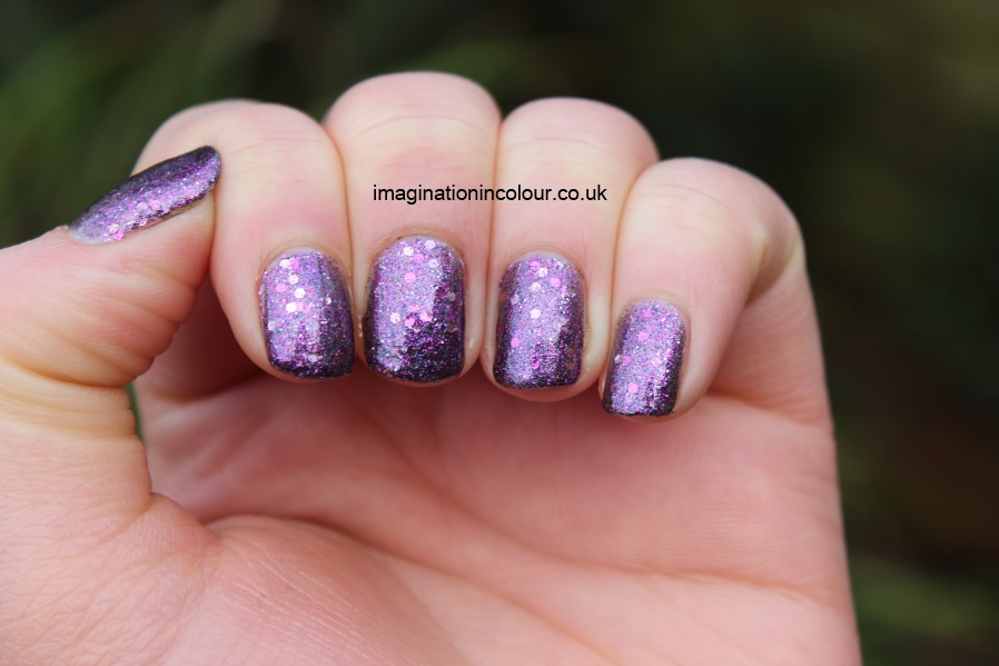Butter London Shambolic Purple Glitter pink fuchsia silver green microglitter holiday 2012 collection christmas lilac nail polish lacquer 3 free cruelty free UK nail blog review swatch swatches (6)