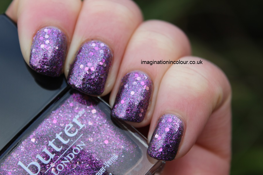 Butter London Shambolic Purple Glitter pink fuchsia silver green microglitter holiday 2012 collection christmas lilac nail polish lacquer 3 free cruelty free UK nail blog review swatch swatches (7)