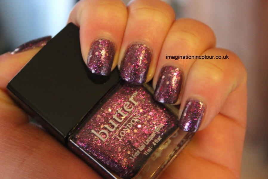 Butter London Shambolic Purple Glitter pink fuchsia silver green microglitter holiday 2012 collection christmas lilac nail polish lacquer 3 free cruelty free UK nail blog review swatch swatches (8)