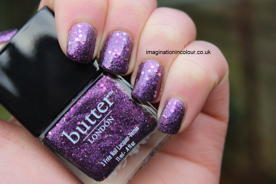 Butter London Shambolic Purple Glitter pink fuchsia silver green microglitter holiday 2012 collection christmas lilac nail polish lacquer 3 free cruelty free UK nail blog review swatch swatches