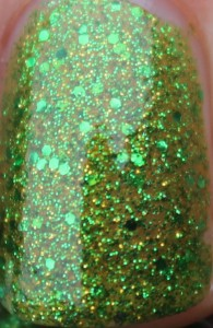 Butter London Swinger green glitter gold golden lime grass bright nail polish lacquer UK varnish review blog swatch swatches close up macro