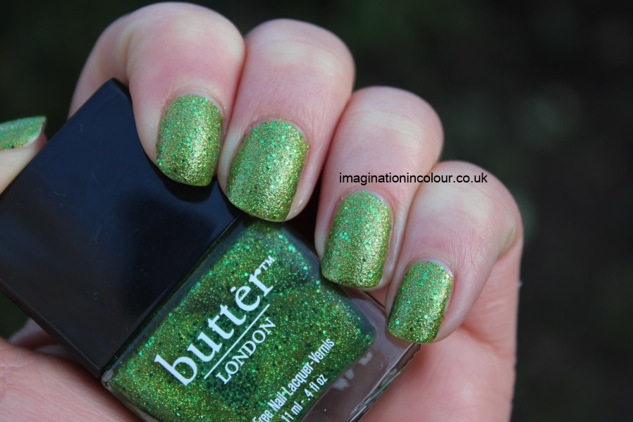 Butter London Swinger green glitter gold golden lime grass bright nail polish lacquer UK varnish review blog swatch swatches