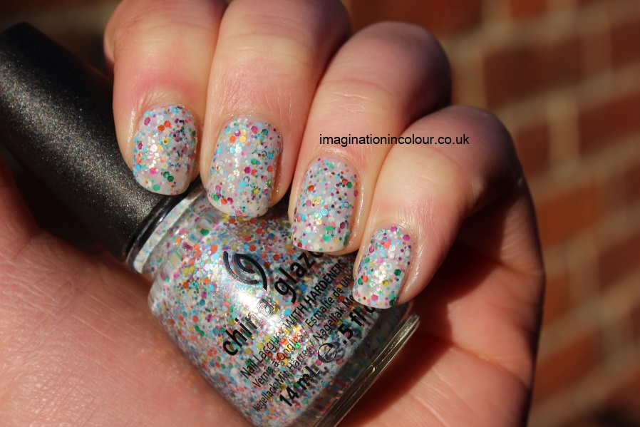 China Glaze It's a Trap-eze trapeze cirque du soleil happy birthday rainbow connection multi glitter rainbow colour nail polish jelly cupcake dupe review varnish blog UK swatches swatch