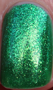 China Glaze Running In Circles Cirque du Soleil collection holiday 2012 christmas bright electric green glassfleck shimmer nail polish vibrant uk nail blog review swatch swatches close up macro shot