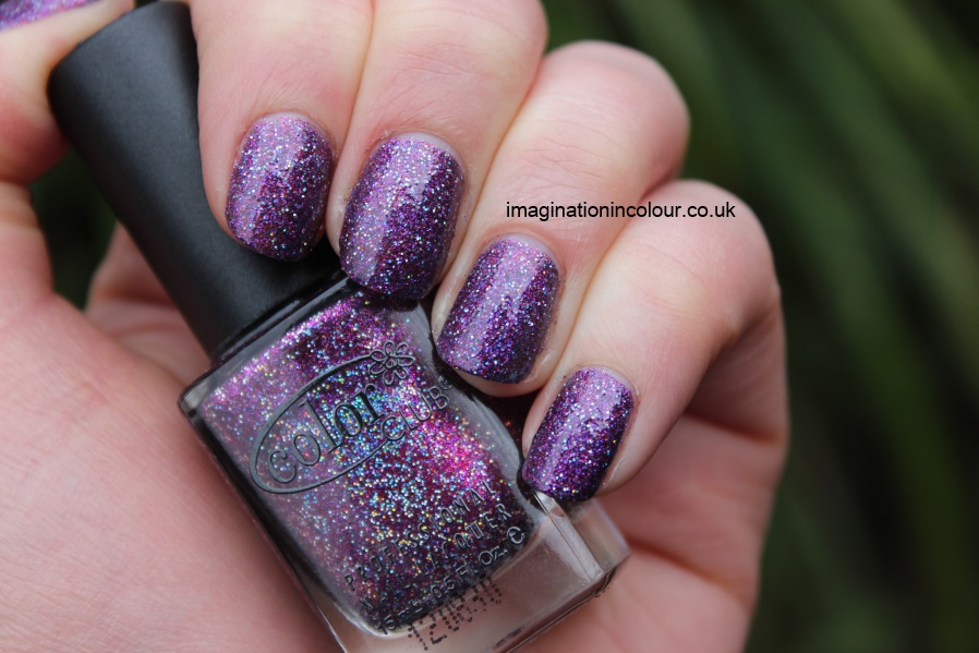 Color Club Gift of Sparkle purple holographic glitter magneta fuchsia holiday 2012 collection UK review nail polish blog swatch swatches multicoloured party