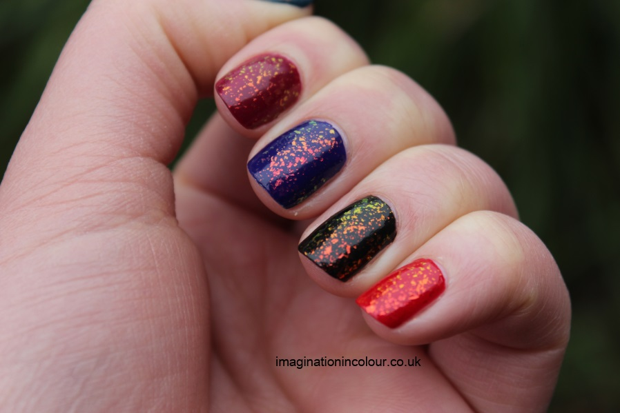 Color Club Snow-flakes snowflakes snowflake flakie mylar topcoat multicoloured sally hansen hidden treasure nubar 2010 gosh rainbow layered colours blue red black teal pink burgundy indigo (2)