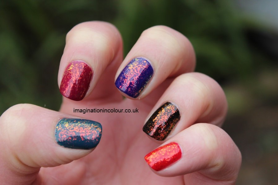 Color Club Snow-flakes snowflakes snowflake flakie mylar topcoat multicoloured sally hansen hidden treasure nubar 2010 gosh rainbow layered colours blue red black teal pink burgundy indigo (3)