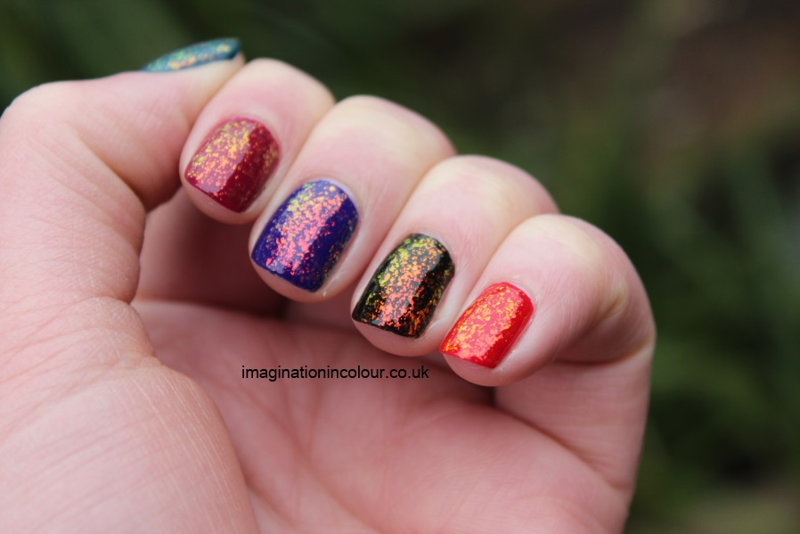Color Club Snow-flakes snowflakes snowflake flakie mylar topcoat multicoloured sally hansen hidden treasure nubar 2010 gosh rainbow layered colours blue red black teal pink burgundy indigo (4)