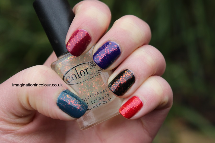 Color Club Snow-flakes snowflakes snowflake flakie mylar topcoat multicoloured sally hansen hidden treasure nubar 2010 gosh rainbow layered colours blue red black teal pink burgundy indigo