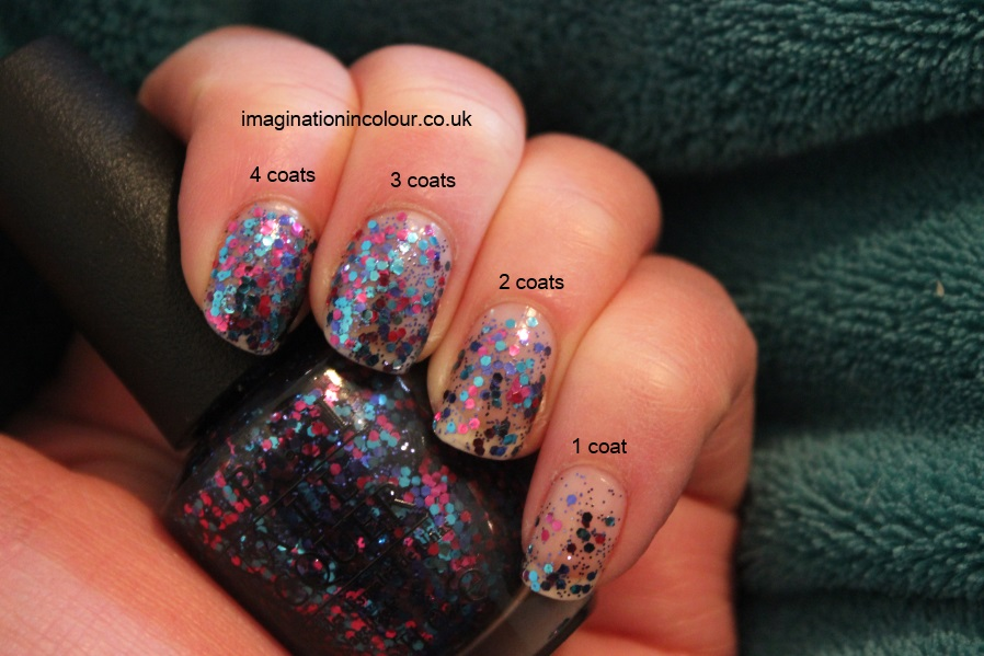 OPI Polka.com polka dot com review layered pink purple blue glitter topcoat euro centrale collection spring 2013 uk nail blog swatch swatches layered